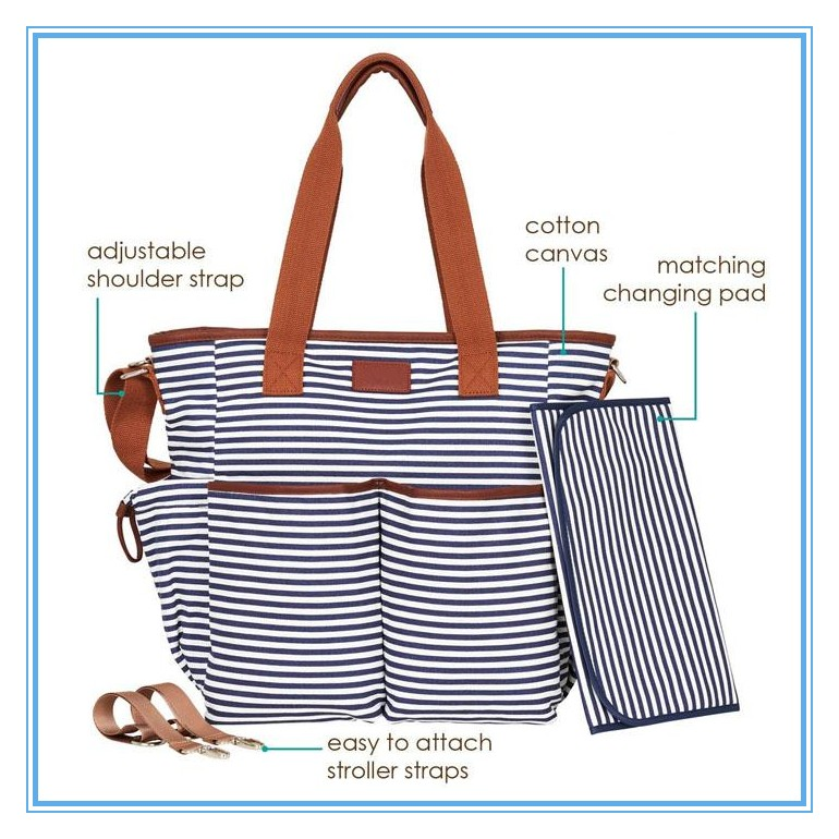 canvas stripe diaper tote