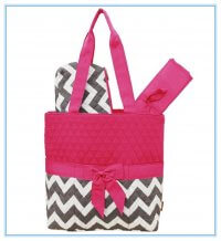 Quilted Chevron Print Monogrammable 3 Piece Diaper Bag