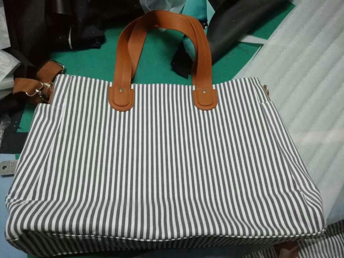 stripe weekend tote