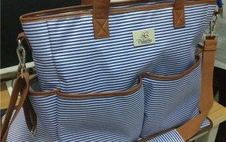 blue stripe diaper bag