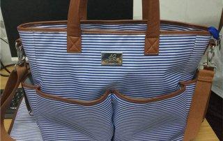 blue stripe weekend bag