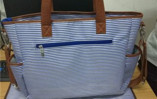 stripe mummy tote bags