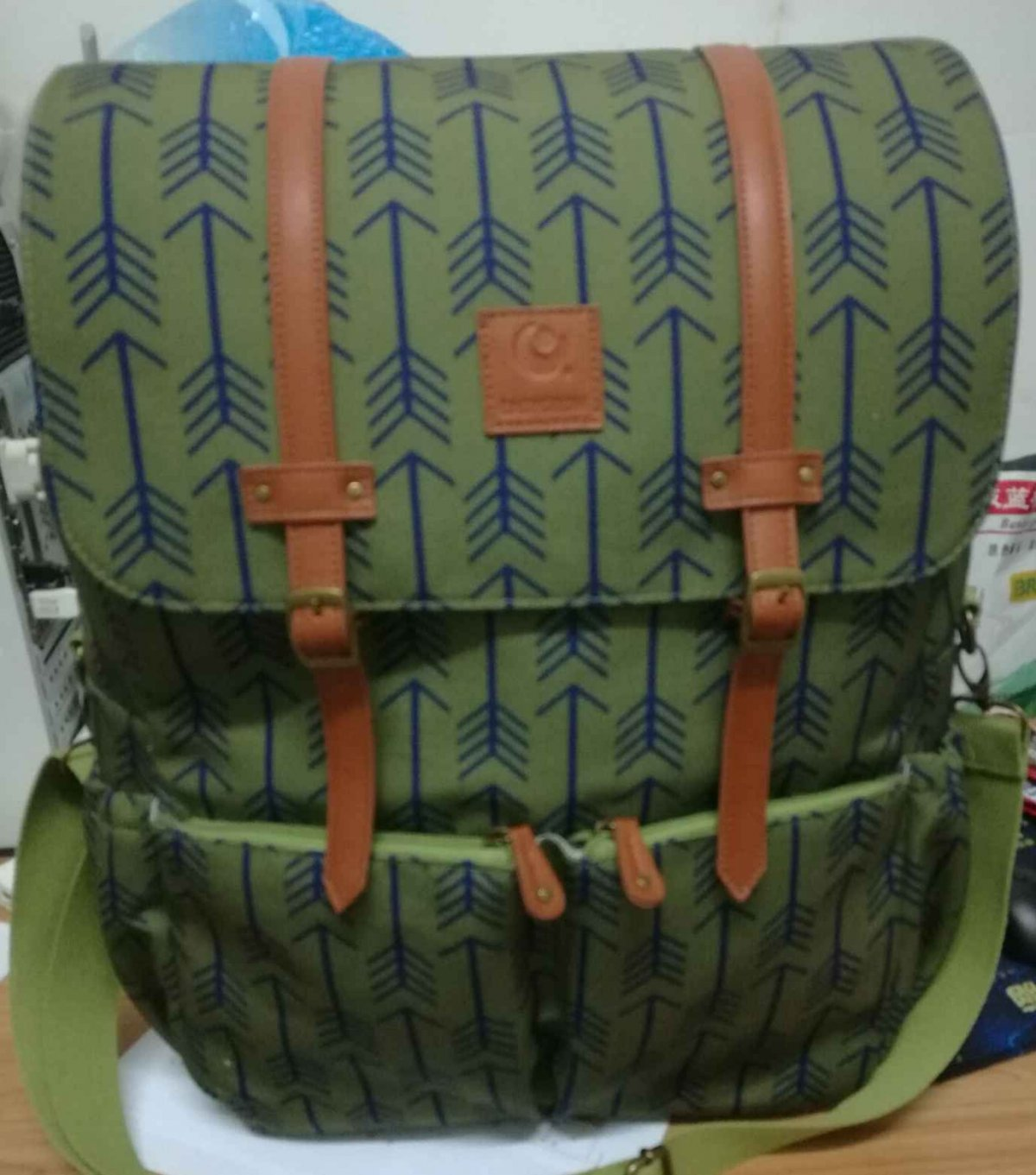 Customized OEM canvas backpack with leather trim
