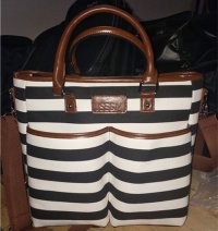 High Quality Fabric White Black Stripe Adult Leather Handle Mummy Baby Diaper Bag