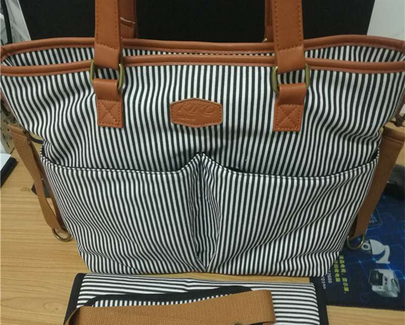 Stripes Designer Cotton Canvas Diaper Bag