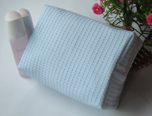 Waffle Weave Fully Lined Cosmetic Bag
