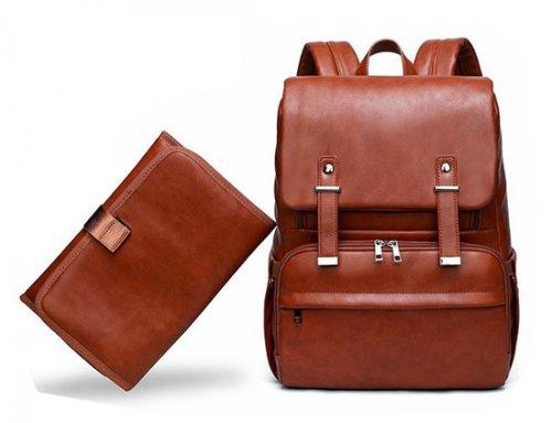 PU Leather Diaper Backpack